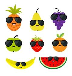 Fruit and berry set sunglasses eyeglasses Cartoon vector image vector image
