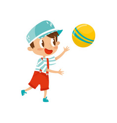 little boy plaing with ball cute cartoon vector image