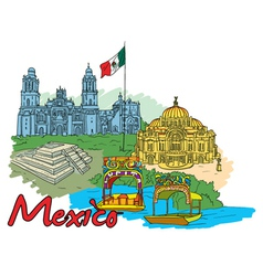 mexico doodles vector image vector image