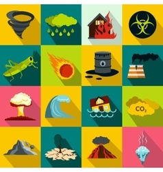Natural disaster icons set flat style vector image