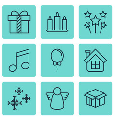 set of 9 happy new year icons includes balloon vector image vector image