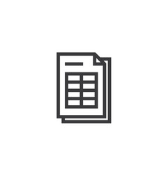 spreadsheet document paper outline icon isolated vector image