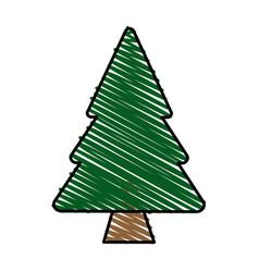 color crayon stripe cartoon pine tree vector image vector image