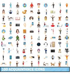 100 acquaintance icons set cartoon style vector