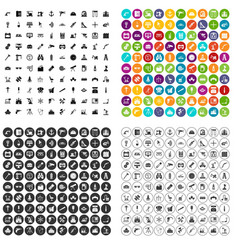 100 equipment icons set variant vector