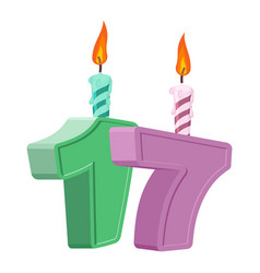 17 years birthday number with festive candle for vector image