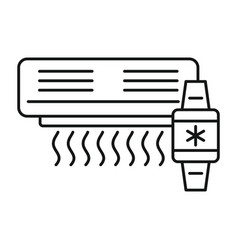 air conditioner smart control icon outline style vector image