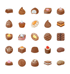 Assorted chocolates icons set vector
