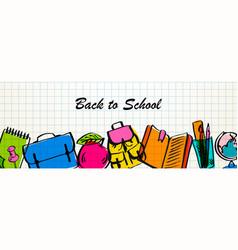 back to school sale horizontal banner vector image