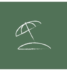 Beach umbrella icon drawn in chalk vector