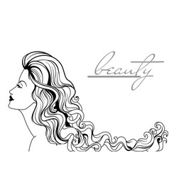 Beautiful young woman portrait vector