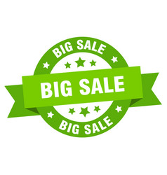 big sale ribbon big sale round green sign big sale vector image