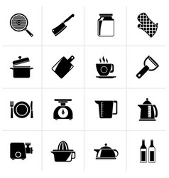 Black home kitchen equipment icons vector