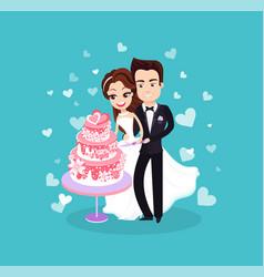 bride and groom cutting dessert wedding vector image