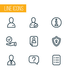 business icons line style set with candidate vector image