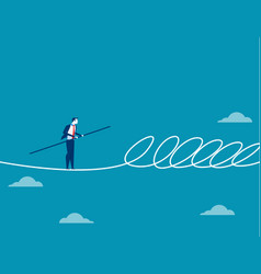 Businessman walking a tightrope and barrier vector