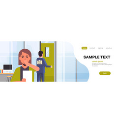 Businesswoman luaghing sticky note with text kick vector