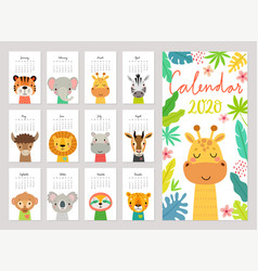 Calendar 2020 cute monthly with jungle vector