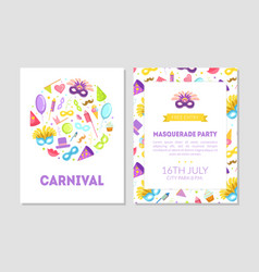carnival masquerade party banner flyer or vector image