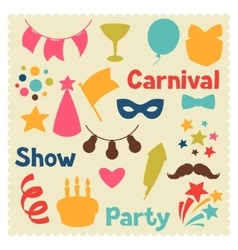 Carnival show and party set of celebration objects vector