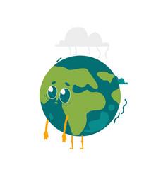 cartoon flat globe sad character isolated vector image