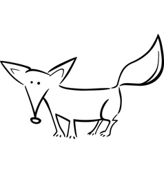 cartoon of fox for coloring vector image