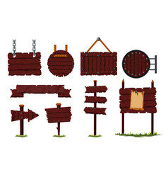 cartoon wooden sign set with wood board vector image
