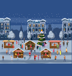 Christmas fair market on town anthropomorphic set vector