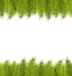 Christmas Frame Made in Fir Branches vector image