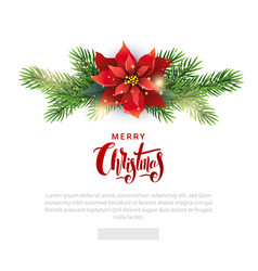 Christmas template for email list with poinsettia vector