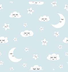 cloud seamless pattern sleeping clouds moon stars vector image