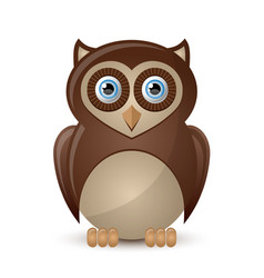 Cute and funny owl character isolated on white vector