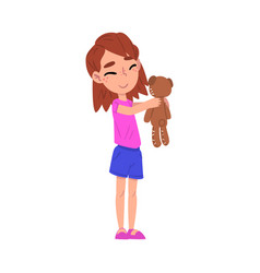 cute girl holding teddy bear adorable kid playing vector image
