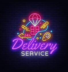 Delivery service neon logo fast vector