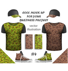 design collection realistic t-shirts vector image
