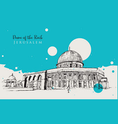 drawing sketch dome rock vector image