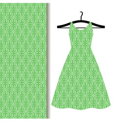 Dress fabric with green geometric pattern vector