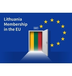 European union flag wall with lithuania flag door vector