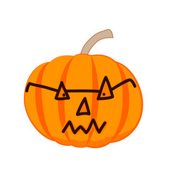 evil halloween pumpkin with glasses vector image
