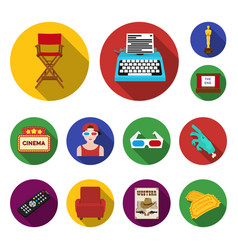 Films and cinema flat icons in set collection for vector