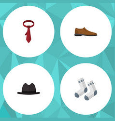 Flat icon dress set of male footware cravat foot vector