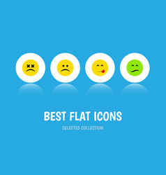 Flat icon gesture set of cross-eyed face vector