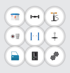 Flat icon workshop set of turnscrew muffler vector