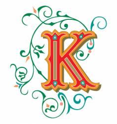 floral letter k vector image vector image