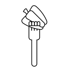 Fork with peppers fresh vegetable isolated icon vector