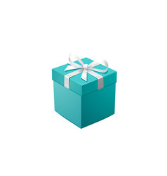 Gift box and silver confetti turquoise jewelry vector