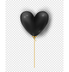 glossy black air balloon in heart form vector image