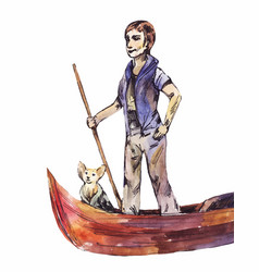 Gondolier with a dog watercolor drawing isolated vector