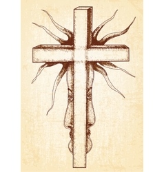 Gothic abstraction with cross on canvas background vector image