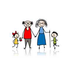 Grandparents with grandchildren sketch for your vector